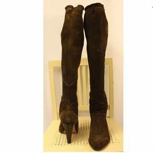 MICHAEL KORS Brown Suede Knee High Heel Boots Nice